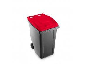 Plastová popelnice Benny na tříděný odpad, objem 360 l, šedá/červená
