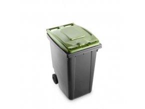 Plastová popelnice Benny na tříděný odpad, objem 360 l, šedá/zelená