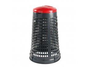 Stojan Element na odpadkové pytle s víkem, šedý/červený