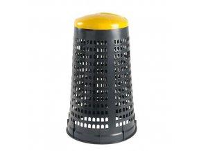 Stojan Element na odpadkové pytle s víkem, šedý/žlutý