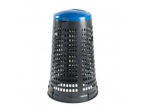 Stojan Element na odpadkové pytle s víkem, šedý/modrý