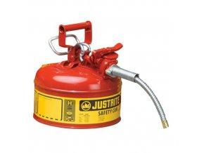 Bezpečnostní nádoba na hořlaviny Justrite s hadicí, červená, 4 l