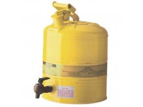 Bezpečnostní nádoba na hořlaviny Justrite s vypouštěcím ventilem, žlutá, 19 l