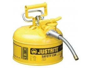Bezpečnostní nádoba na hořlaviny Justrite AccuFlow s hadicí, typ II, žlutá, 4 l