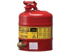 Bezpečnostní nádoba na hořlaviny Justrite s plastovým vypouštěcím ventilem, červená, 19 l