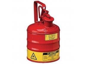 Bezpečnostní nádoba na hořlaviny Justrite s úchytem, červená, 4 l