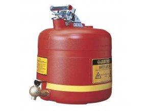 Plastová bezpečnostní nádoba na hořlaviny Justrite s vypouštěcím ventilem, červená, 2 l