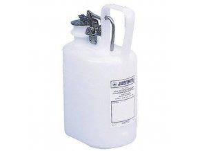 Plastová nádoba na hořlavé látky Justrite s úchytem, bílá, 4 l