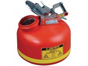 Plastová bezpečnostní nádoba na hořlavé látky Justrite s ocelovým víkem, červená, 8 l