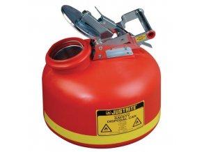 Plastová bezpečnostní nádoba na hořlavé látky Justrite s nerezovým víkem, červená, 8 l
