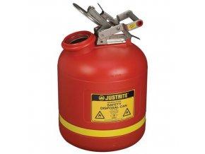 Plastová bezpečnostní nádoba na hořlavé látky Justrite s ocelovým víkem, červená, 19 l