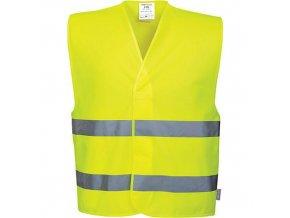 Reflexní vesta s dvěma pruhy, žlutá, vel. S-M