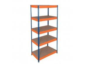 Kovový bezšroubový regál REGG 3, 160 x 90 x 30 cm, 265 kg/pol, 5 HDF polic, modrý-oranžový