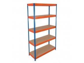 Kovový bezšroubový regál REGG 3, 180 x 120 x 30 cm, 265 kg/pol, 5 HDF polic, modrý-oranžový