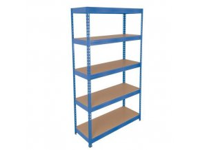 Kovový bezšroubový regál REGG 3, 180 x 120 x 45 cm, 265 kg/pol, 5 HDF polic, modrý