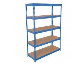 Kovový bezšroubový regál REGG 3, 180 x 150 x 30 cm, 265 kg/pol, 5 HDF polic, modrý