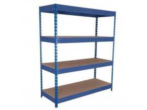 Kovový bezšroubový regál REGG 3, 200 x 180 x 45 cm, 375 kg/pol, 4 HDF police, modrý