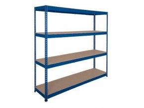 Kovový bezšroubový regál REGG 3, 250 x 210 x 45 cm, 350 kg/pol, 4 HDF police, modrý