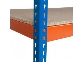 Přídavná dřevovláknitá police, 210 x 45 cm, 350 kg, oranžová