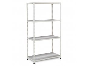 Bezšroubový kovový regál REGG 2, 160 x 91,5 x 30,5 cm, 135 kg/pol., 4 ocelové panely, pozink
