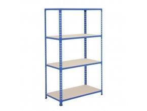 Bezšroubový kovový regál REGG 2, 160 x 91,5 x 36,5 cm, 340 kg/pol., 4 DTD police, modrý