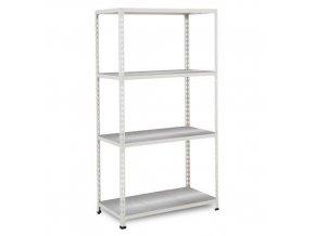 Bezšroubový kovový regál REGG 2, 160 x 91,5 x 36,5 cm, 135 kg/pol., 4 ocelové panely, pozink