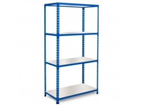 Bezšroubový kovový regál REGG 2, 160 x 122 x 30,5 cm, 200 kg/pol., 4 laminované police, modrý
