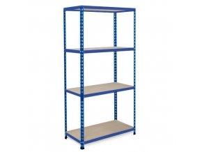 Bezšroubový kovový regál REGG 2, 160 x 122 x 45,5 cm, 200 kg/pol., 4 DTD police, modrý