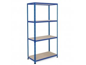 Bezšroubový kovový regál REGG 2, 160 x 122 x 61 cm, 200 kg/pol., 4 DTD police, modrý