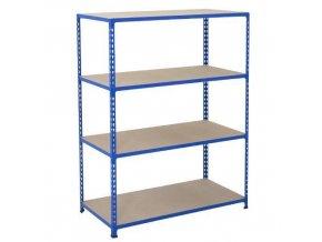 Bezšroubový kovový regál REGG 2, 160 x 152,5 x 36,5 cm, 120 kg/pol., 4 DTD police, modrý