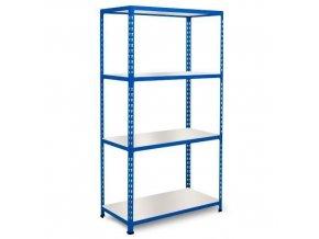 Bezšroubový kovový regál REGG 2, 160 x 152,5 x 45,5 cm, 120 kg/pol., 4 laminované police, modrý
