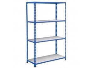 Bezšroubový kovový regál REGG 2, 160 x 152,5 x 45,5 cm, 110 kg/pol., 4 ocelové panely, modrý