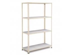 Bezšroubový kovový regál REGG 2, 160 x 152,5 x 45,5 cm, 110 kg/pol., 4 ocelové panely, pozink