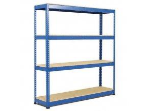 Bezšroubový kovový regál Rapid 1, 198 x 213,4 x 45,5 cm, 580 kg/police, 4 dřevotřískové police, modrý
