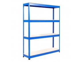 Bezšroubový kovový regál Rapid 1, 198 x 122 x 45,5 cm, 600 kg/police, 4 laminované police, modrý