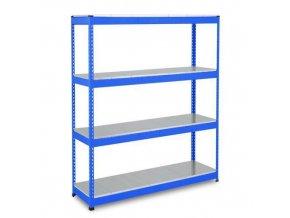 Bezšroubový kovový regál Rapid 1, 198 x 122 x 76 cm, 440 kg/police, 4 ocelové panely, modrý