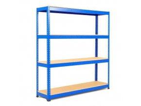 Bezšroubový kovový regál Rapid 1, 198 x 152,5 x 61 cm, 440 kg/police, 4 dřevotřískové police, modrý