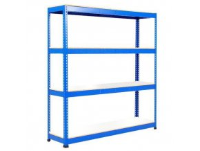 Bezšroubový kovový regál Rapid 1, 198 x 152,5 x 76 cm, 340 kg/police, 4 laminované police, modrý