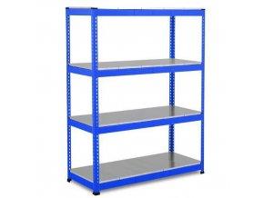 Bezšroubový kovový regál Rapid 1, 198 x 152,5 x 76 cm, 440 kg/police, 4 ocelové panely, modrý