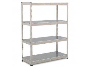 Bezšroubový kovový regál Rapid 1, 198 x 152,5 x 76 cm, 440 kg/police, 4 ocelové panely, pozink