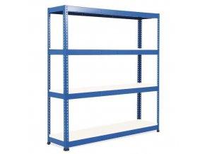 Bezšroubový kovový regál Rapid 1, 198 x 213,4 x 45,5 cm, 580 kg/police, 4 laminované police, modrý