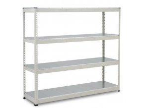Bezšroubový kovový regál Rapid 1, 198 x 213,4 x 45,5 cm, 430 kg/police, 4 ocelové panely, pozink