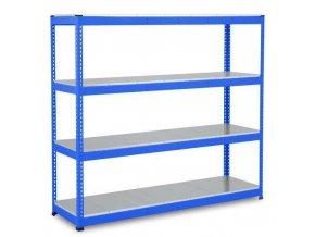Bezšroubový kovový regál Rapid 1, 198 x 213,4 x 61 cm, 430 kg/police, 4 ocelové panely, modrý