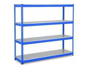 Bezšroubový kovový regál Rapid 1, 198 x 213,4 x 76 cm, 430 kg/police, 4 ocelové panely, modrý