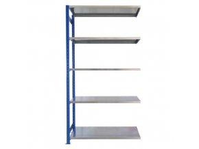 Kovový bezšroubový regál, přístavbový, 200 x 100 x 40 cm, 160 kg/police, 5 polic, modrý