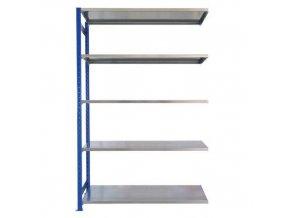 Kovový bezšroubový regál, přístavbový, 200 x 130 x 50 cm, 190 kg/police, 5 polic, modrý