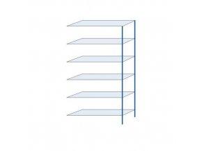 Kovový bezšroubový regál, přístavbový, 250 x 130 x 40 cm, 110 kg/police, 6 polic, modrý