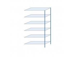 Kovový bezšroubový regál, přístavbový, 250 x 130 x 50 cm, 190 kg/police, 6 polic, modrý