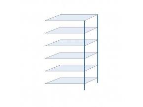 Kovový bezšroubový regál, přístavbový, 250 x 130 x 60 cm, 150 kg/police, 6 polic, modrý