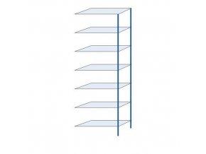 Kovový bezšroubový regál, přístavbový, 300 x 100 x 40 cm, 160 kg/police, 7 polic, modrý